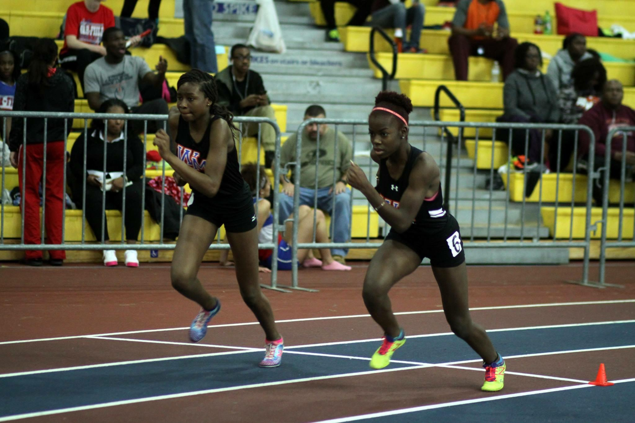 Watkins Mill girls senior Rhoda Miller and freshman Theresa Secke take off in girls 500m