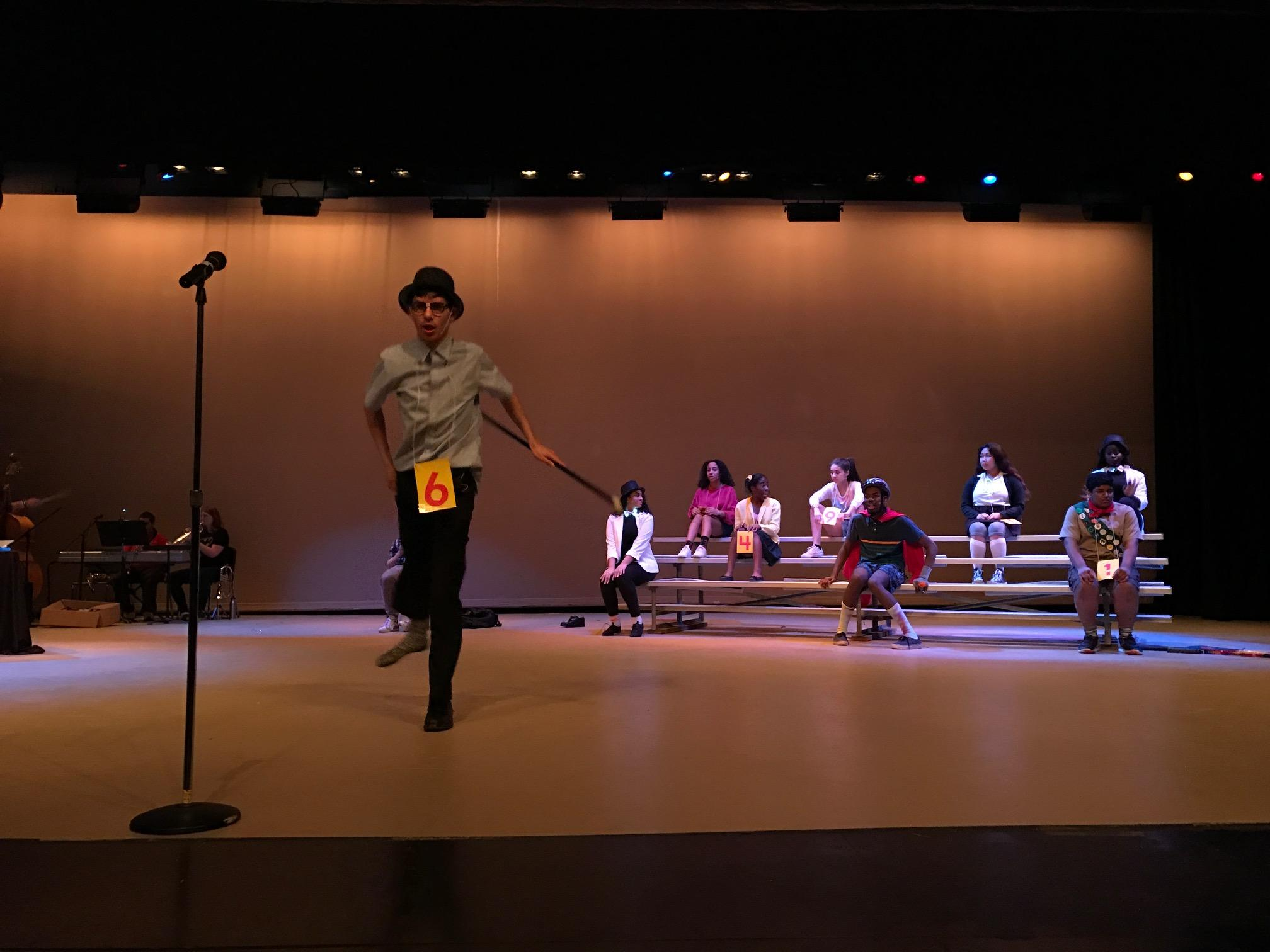 Senior Ian Nathan performs in his solo act,