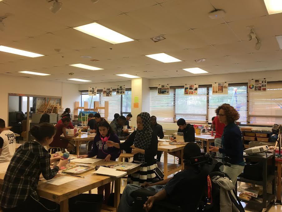 Art teacher Limor Dekel teaching her 5th period art class