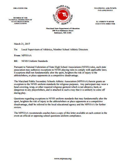 Memo from MPSSAA about exception on religious head gear.