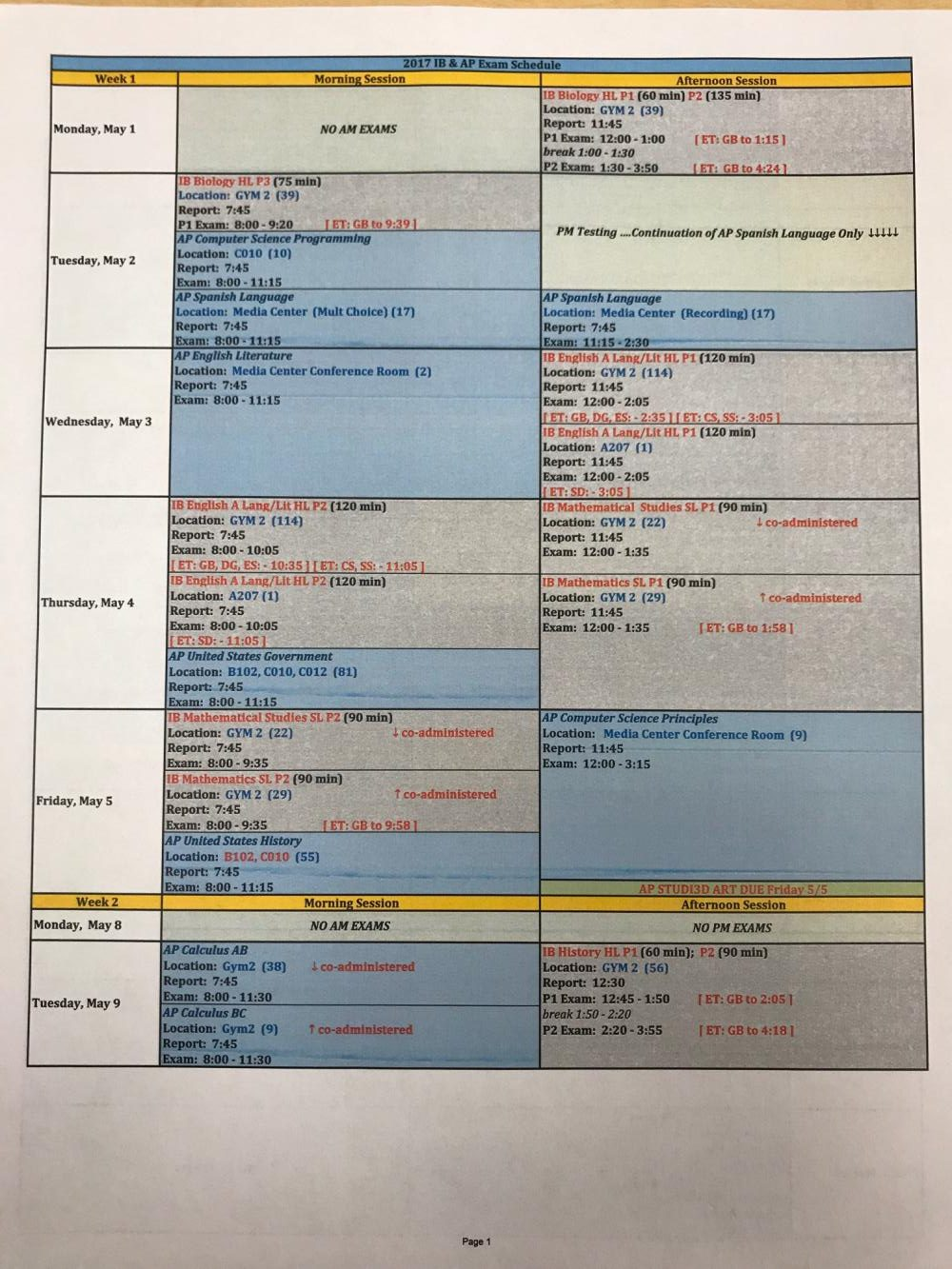 AP and IB testing schedule
