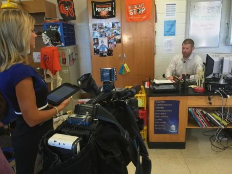 NBC4's Melissa Mollet interviews science teacher Matt Johnson for the segment on Samia