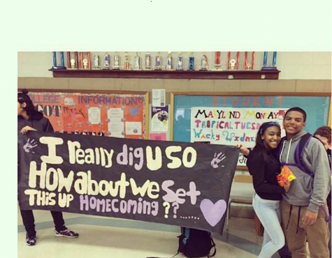 Sophomore Camille Allie receiving an epic homecoming proposal from her boyfriend, sophomore Michael Smith.