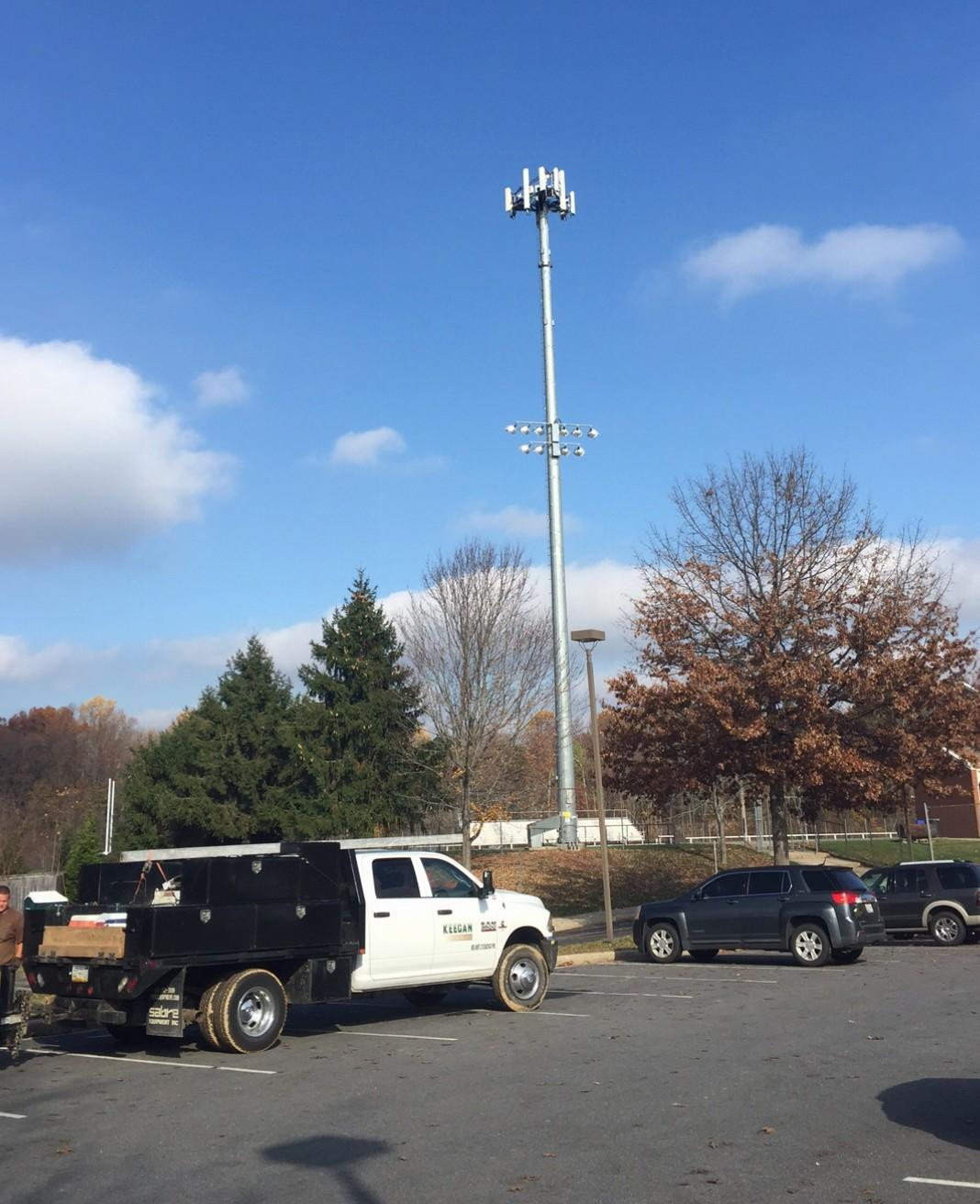 The current cell phone tower on Watkins Mill High School property