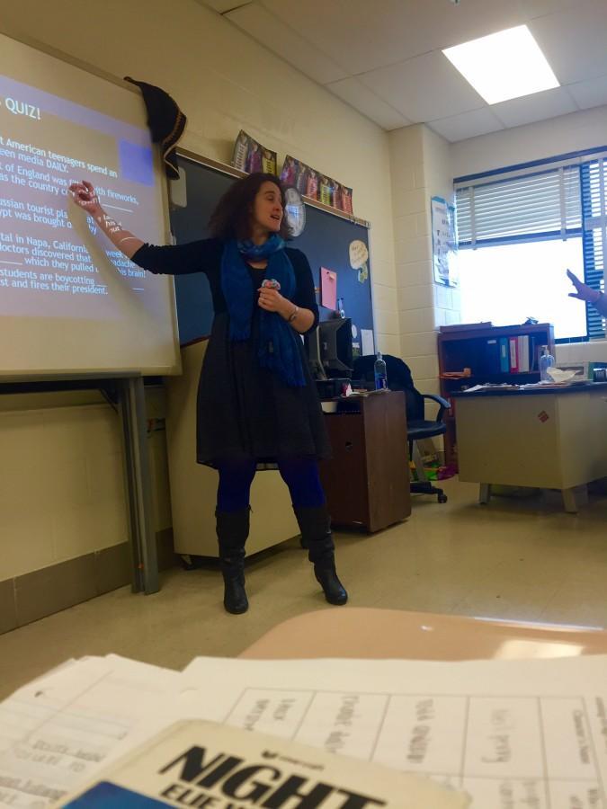 English teacher Sofya Shpilyuk teaching her sophomores this week