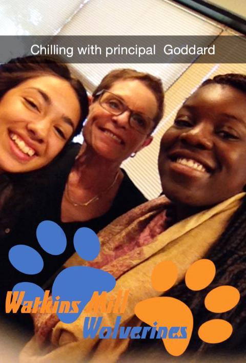 Alumni Katerina Molina (left) and MK Kamara with principal Carol Goddard as they experienced a typical day in Goddards job.