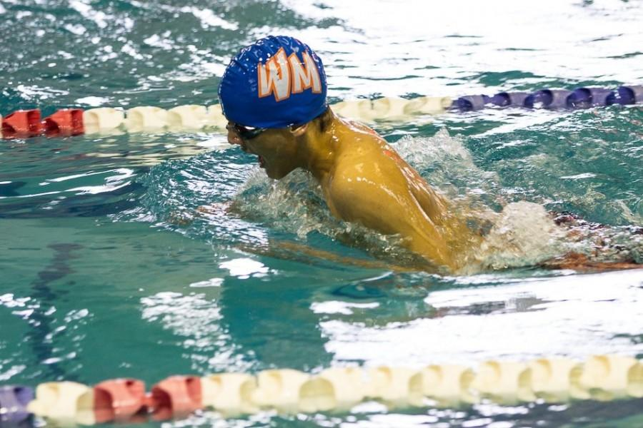 Sophomore Chase Soghomonian swims as part of the Wolverine boys swim team.