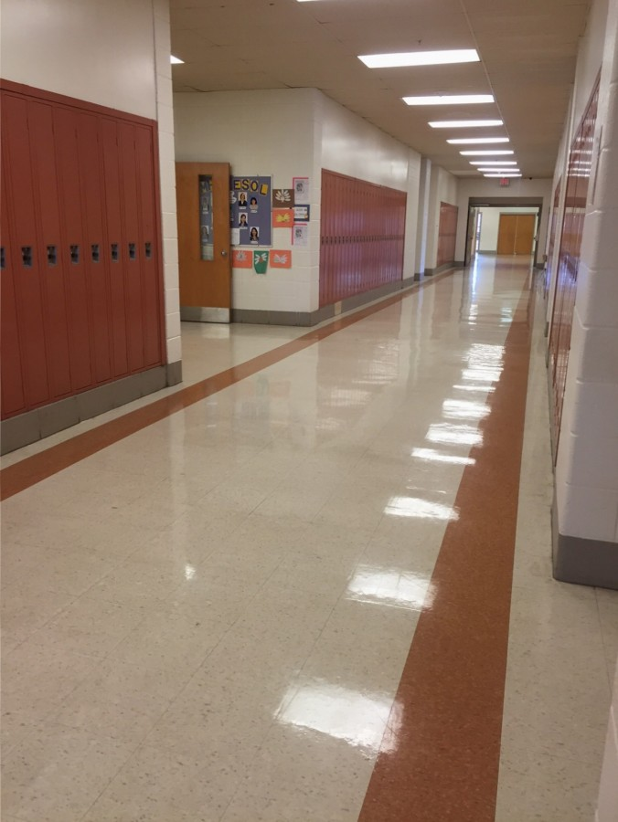 The A hallway stands empty after the bell rings between classes.  The administration hopes to keep them that way.