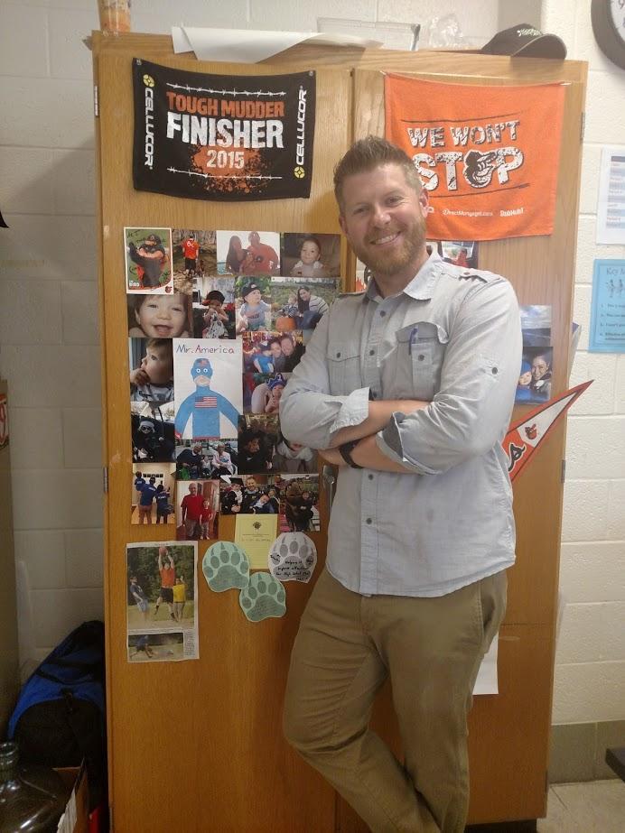 Science teacher Matt Johnson poses in his classroom.