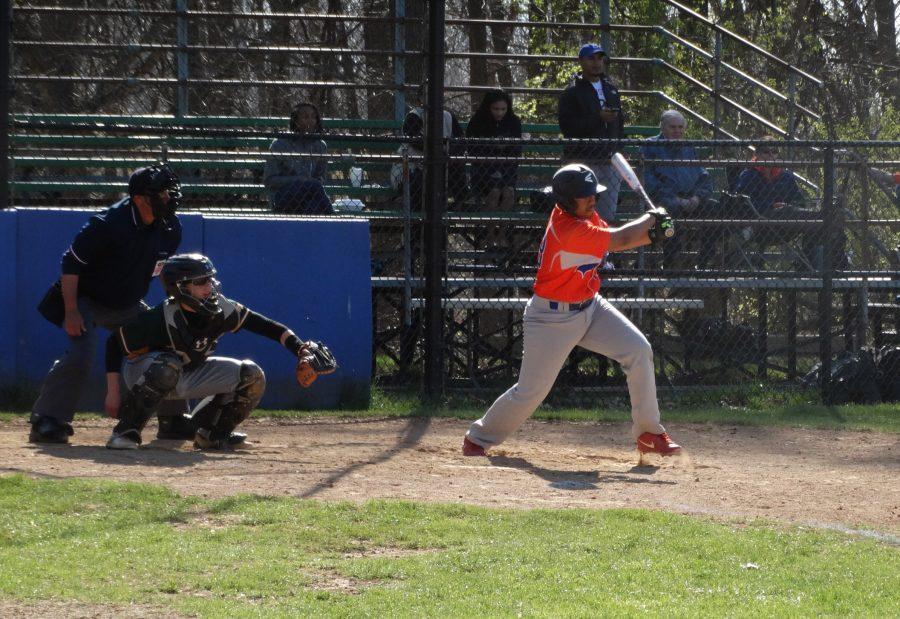 Junior Daniel Suarez takes his turn at bat against the Screamin Eagles