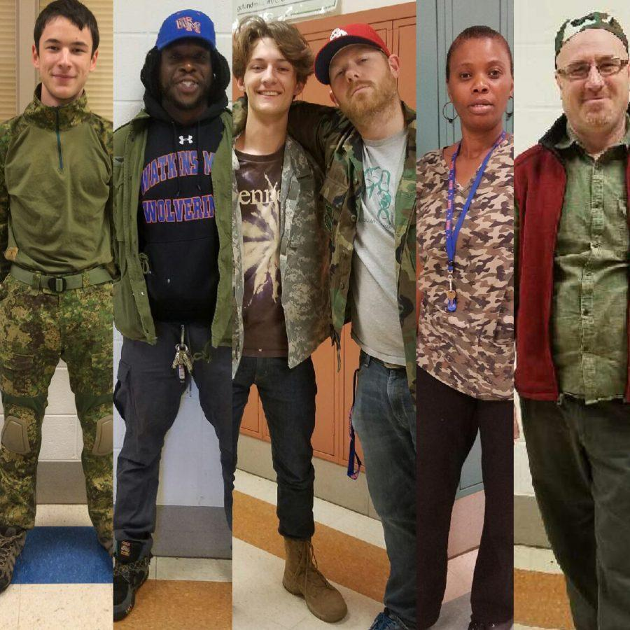 Students+and+staff+dressed+in+camouflage+and+green+today+to+show+support+for+the+military.+