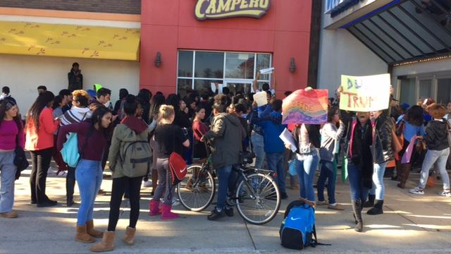 Students gather at Lakeforest Mall as part of their anti-Trump protest
