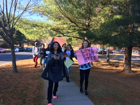 Watkins Mill students walk out to protest Trump