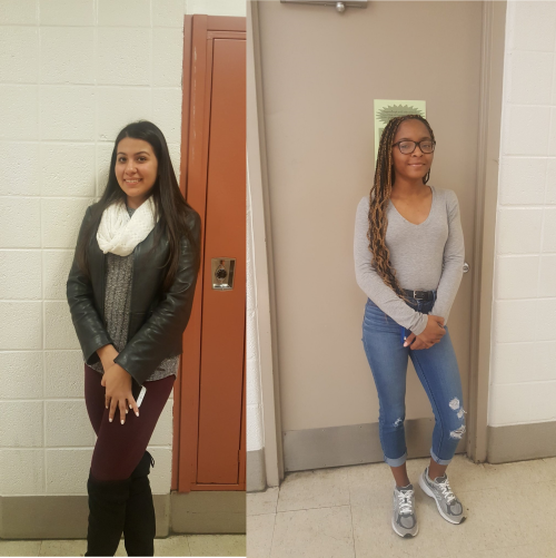 Juniors Gabriella Maya and Brianna Knight both travel to Gaithersburg High School each day to participate in the cosmetology program