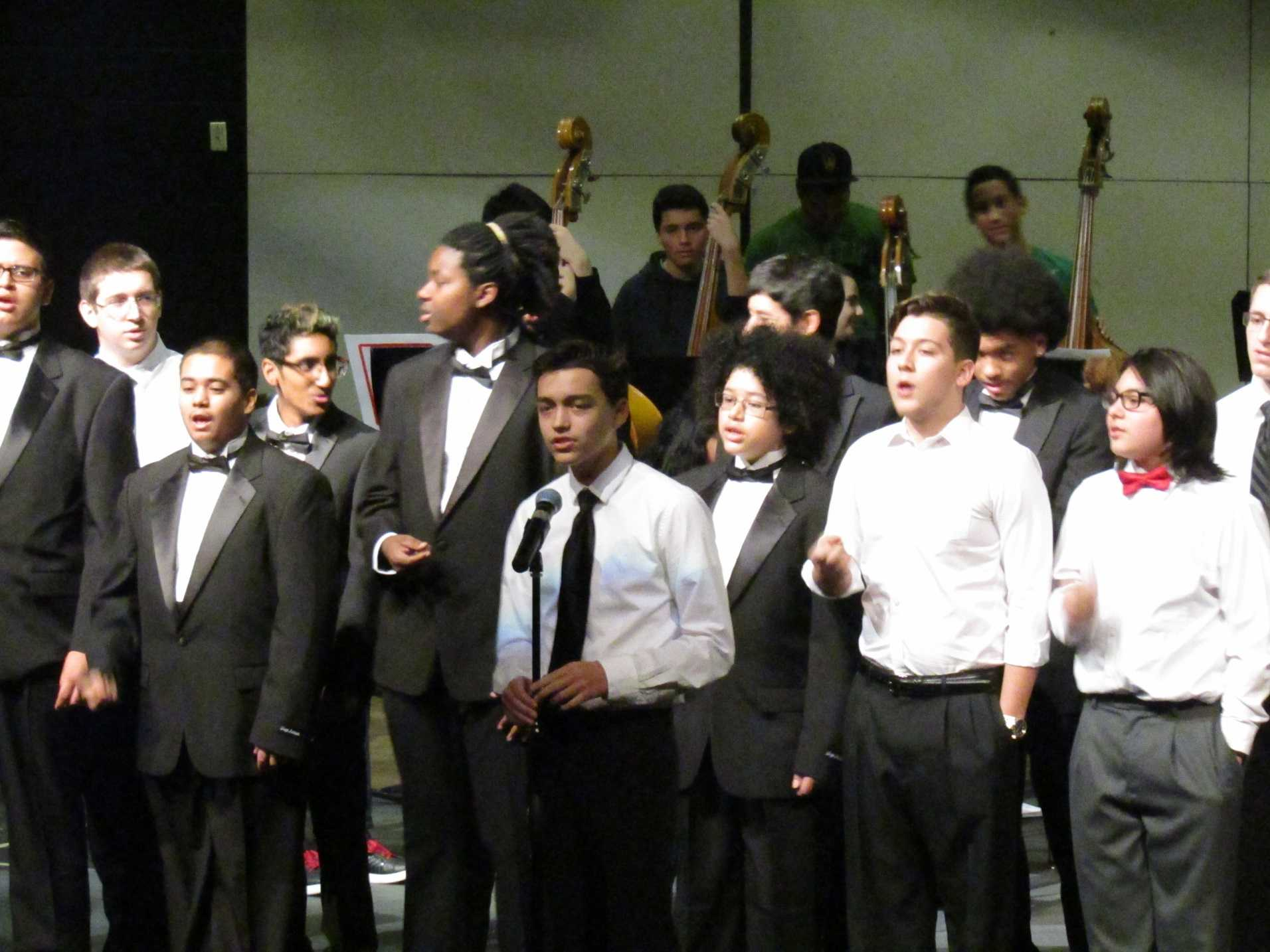 Students perform as part of the choral and instrumental music concert preview on December 1