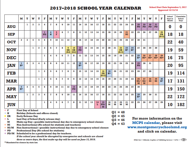 proposed calendar for the 2017 2018 school year
