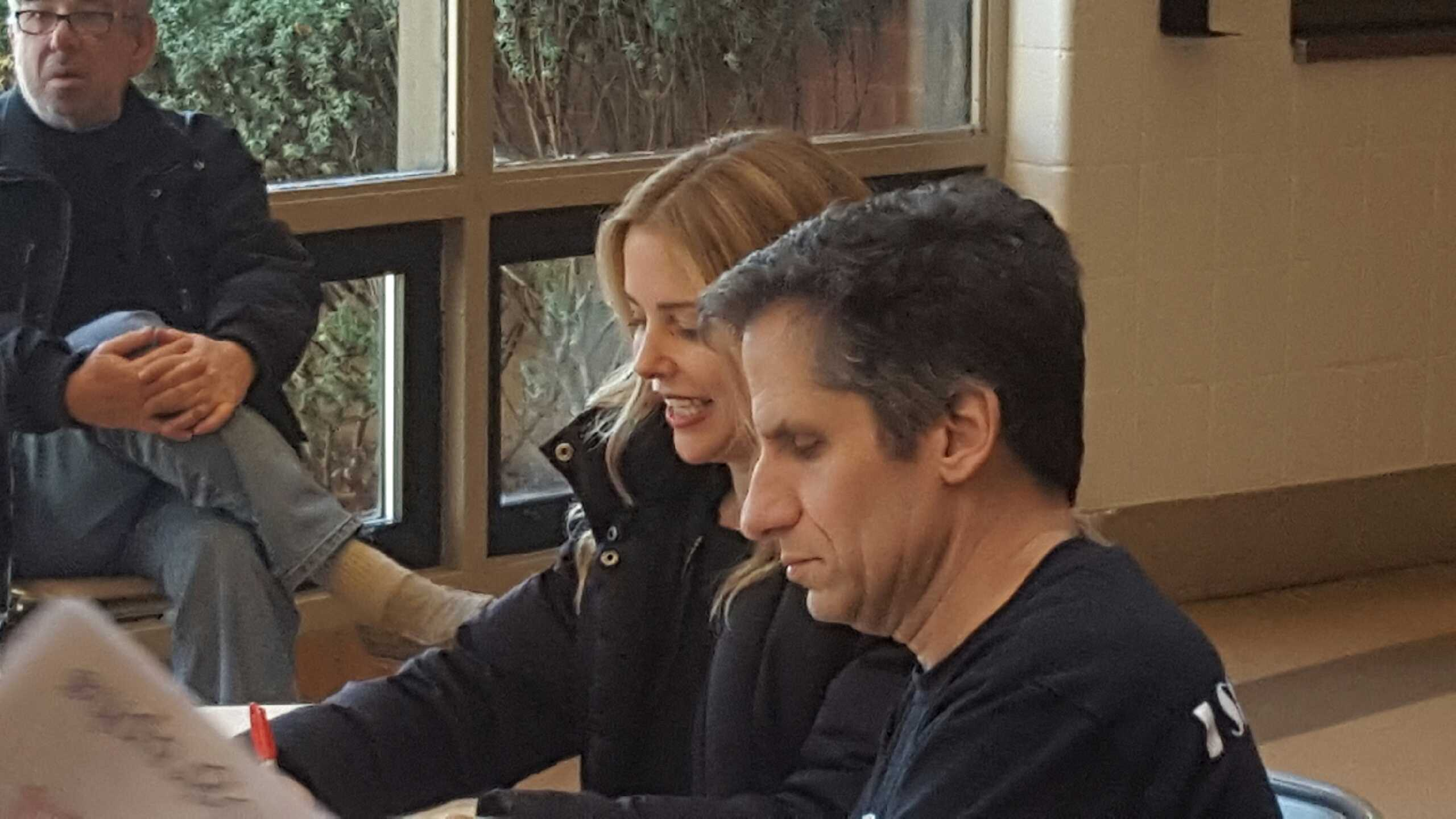 Seth Rudetsky (front) and Kerry Butler (back) sign autographs for students after the show