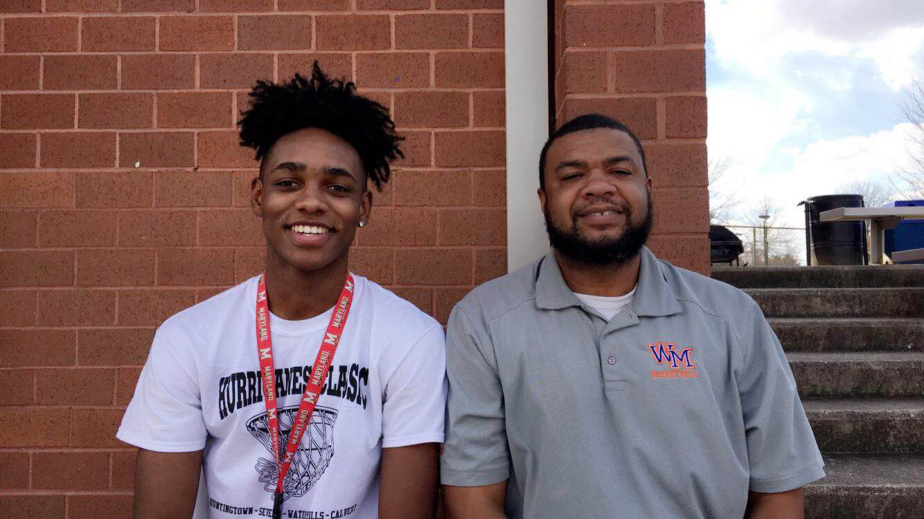 Junior Terrance Williams with his step-father and basketball coach Corey Robinson.