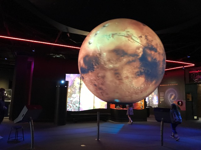 A+model+of+Mars+hanging+in+the+science+center.