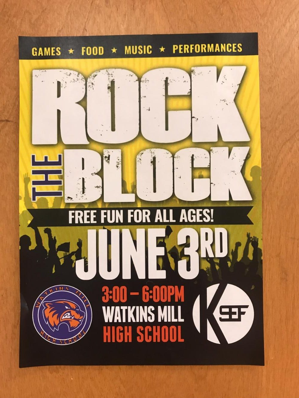 Rock the Block event poster.