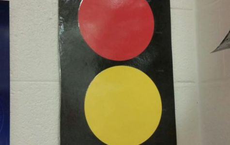 Cell phone traffic light signs designed to stop inappropriate classroom cell phone use