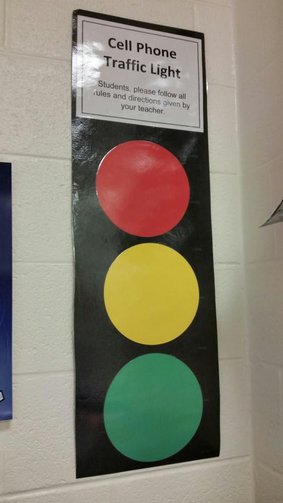 Traffic light signs are at the front of the room