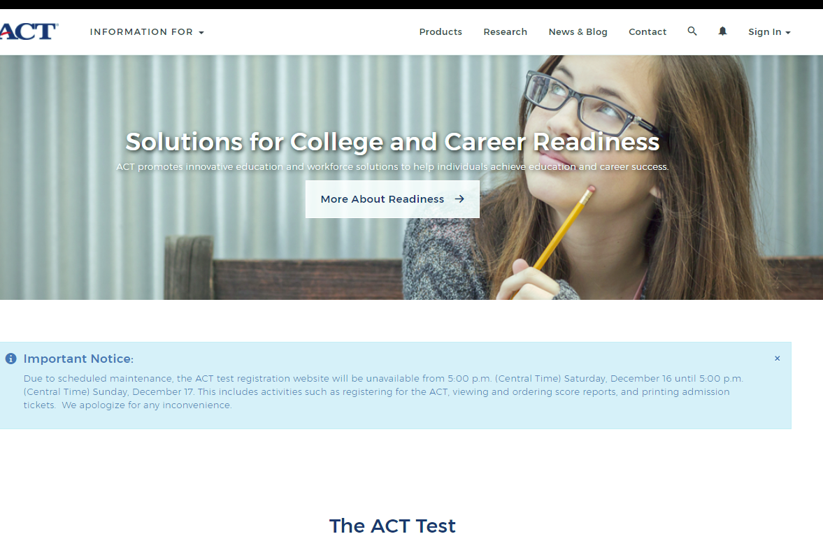 Homepage of ACT.