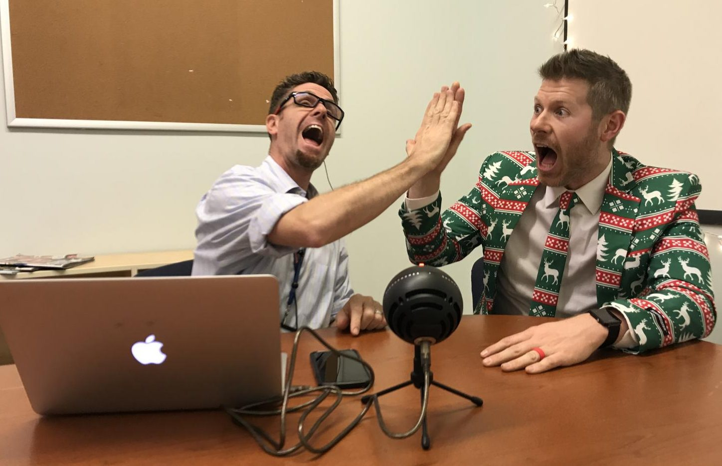 Assistant principal Steve Orders and science teacher Matt Johnson in their recording studio