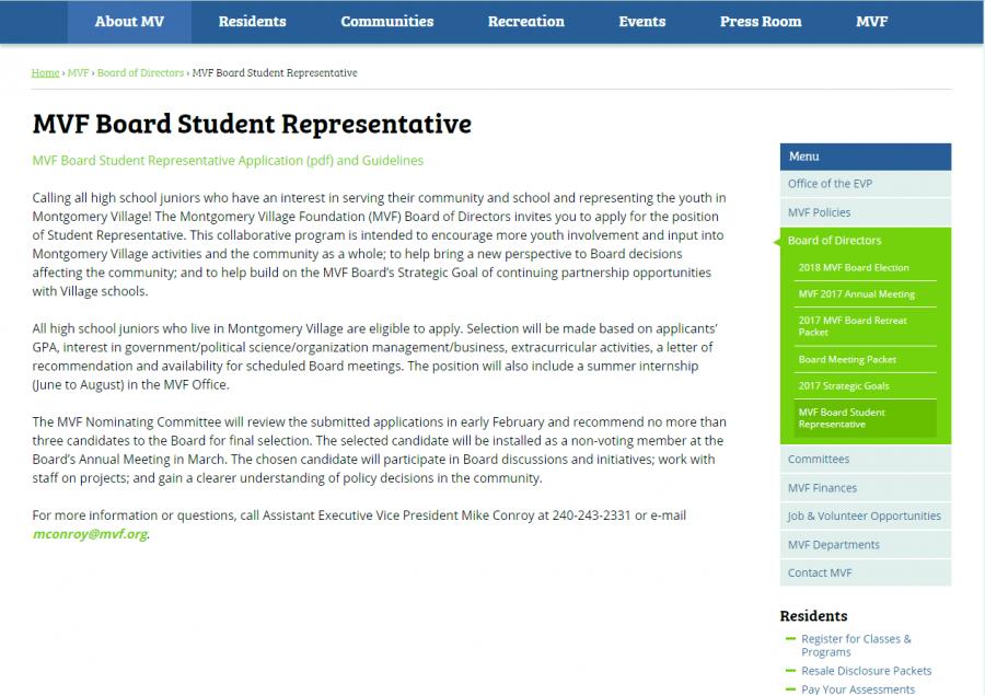 Montgomery+Village+Foundation%27s+student+board+representative+announcement.+