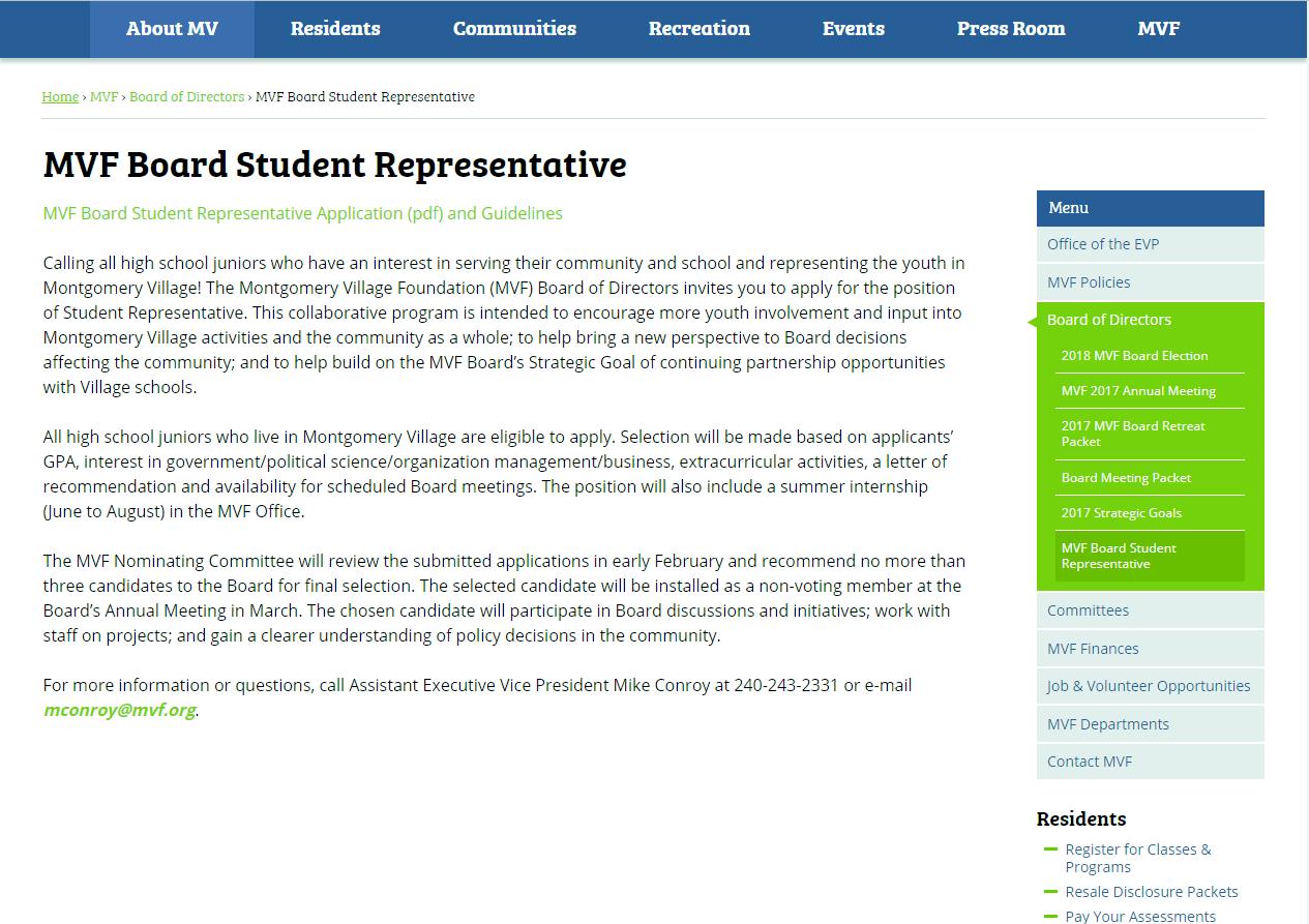 Montgomery Village Foundation's student board representative announcement.