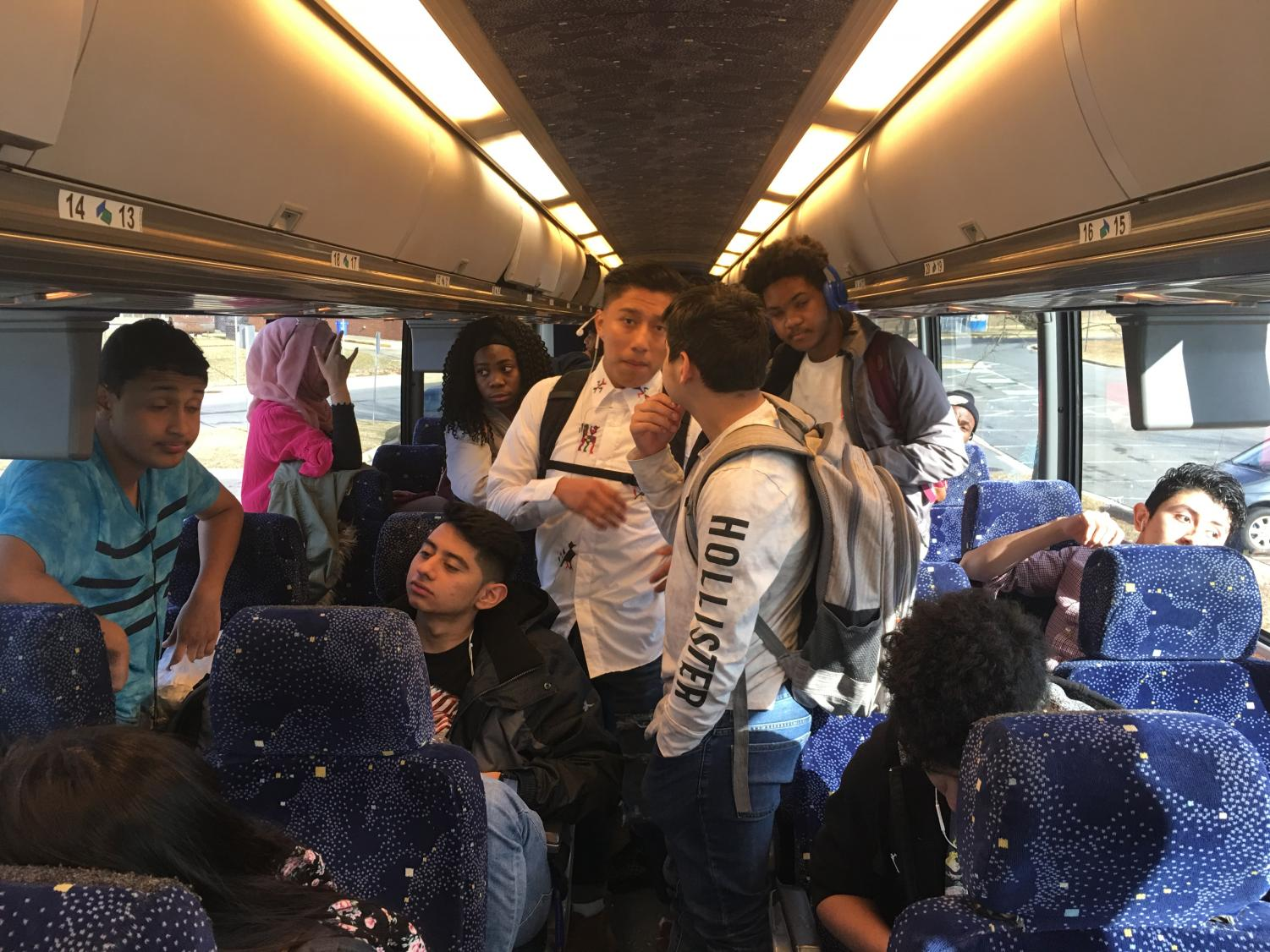 ESOL students on the bus to see the production of Hamlet at the Shakespeare Theatre in Washington, DC