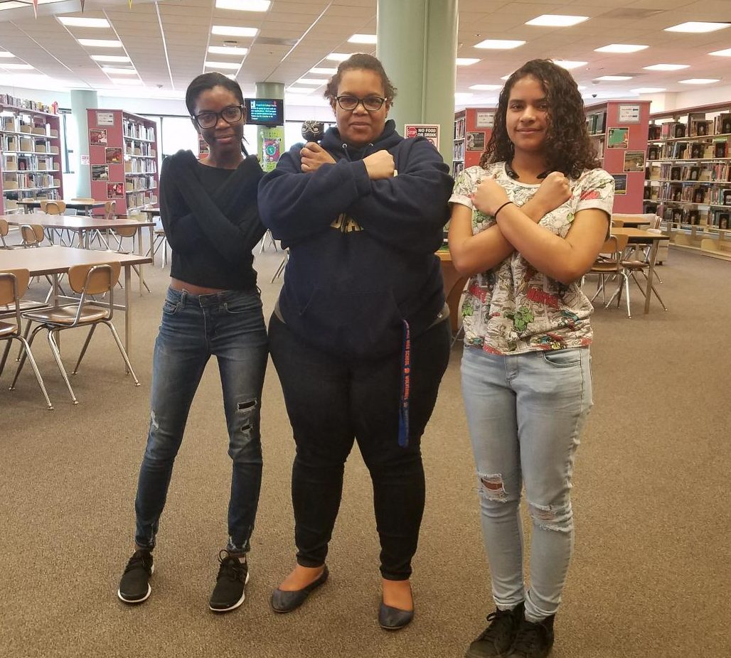 Juniors Nadaja Burnett and Charisse Warfield with English resource teacher Wendy Farmer