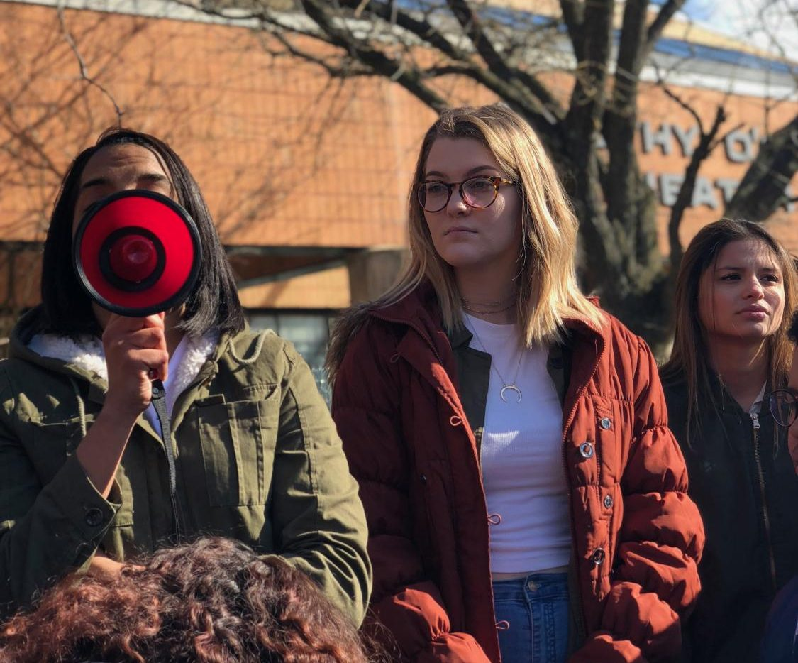 Seniors Paolina Ramirez, Catherine Hodge and Tori Enamorado at the walkout to support gun control