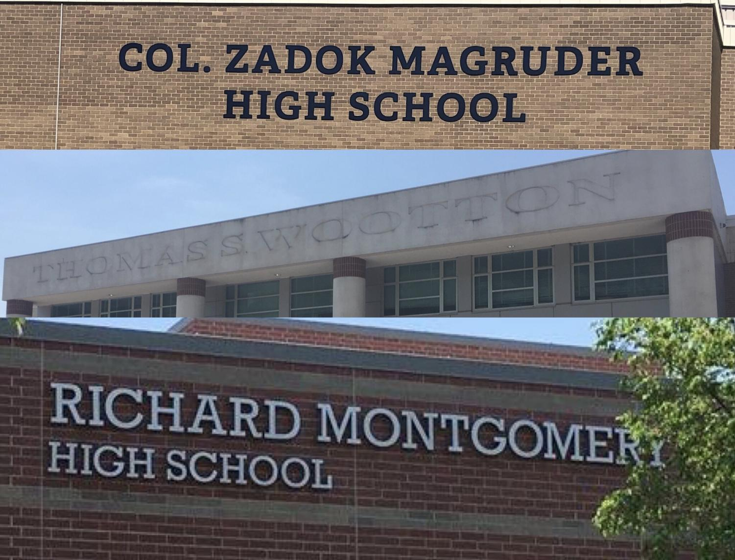 Magruder, Wootton and Richard Montgomery High Schools, all of which are named after slave owners