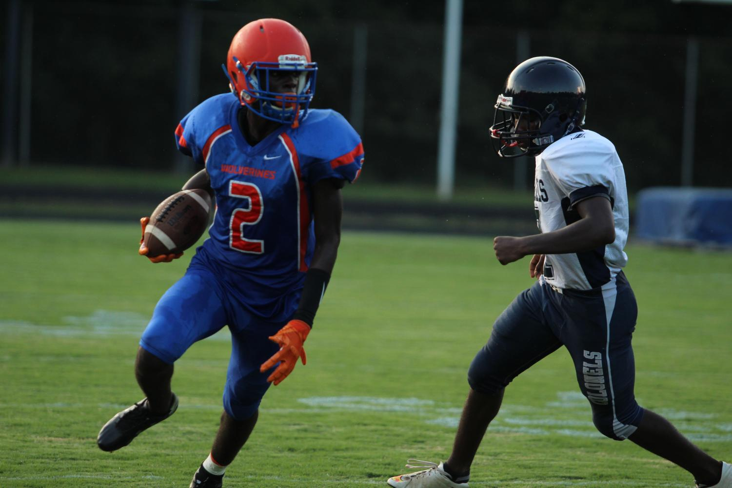 JV Football's first game against the Magruder Colonels on September 6