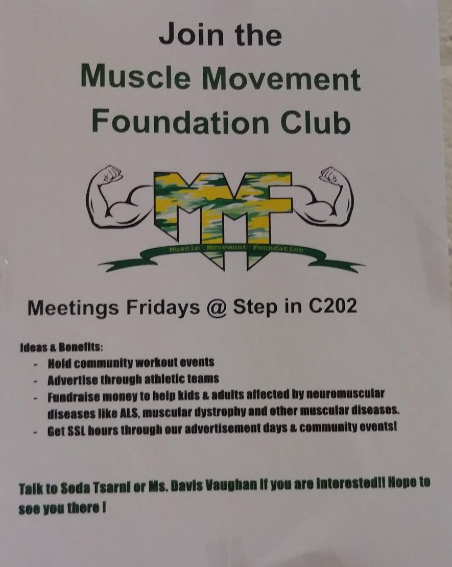 Flyer for new Watkins Mill club Muscle Movement Foundation.