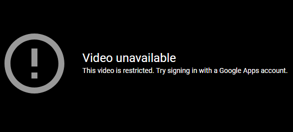 Message for restricted videos on YouTube