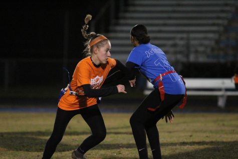 Girls reverse roles in annual Powder Puff football game