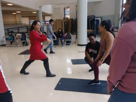 ESOL theatre students learn stage combat from professional actors