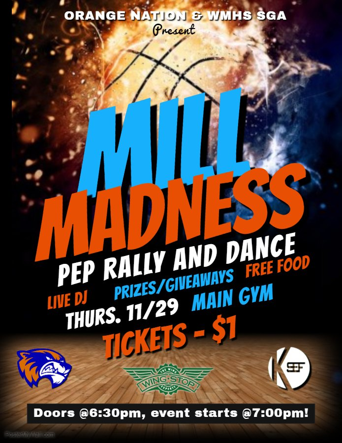 Mill Madness Pep Rally and Dance Party will take place Thursday night