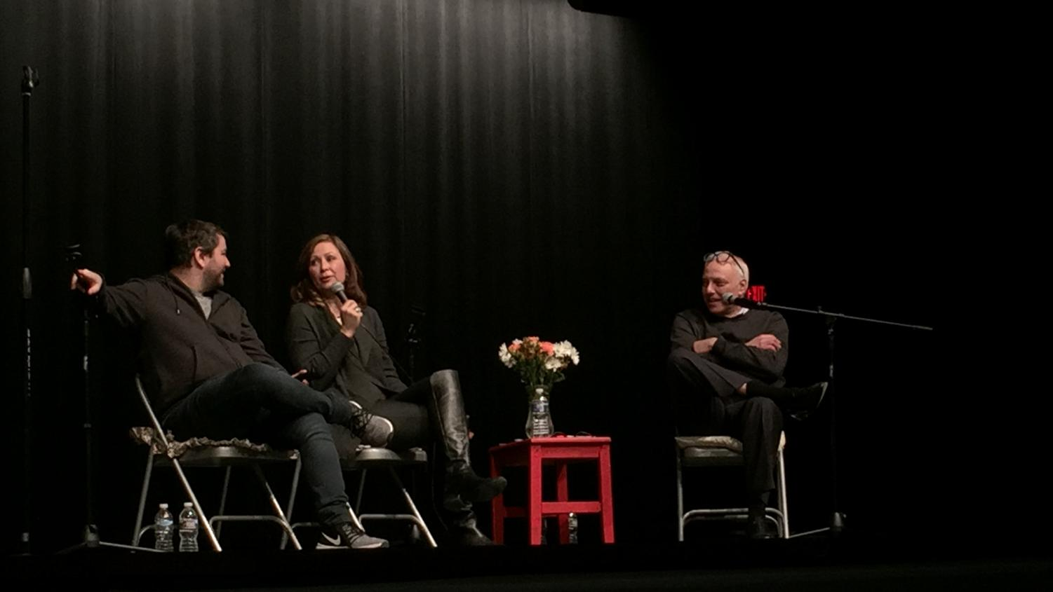 Linda Eder and Alex Brightman answer questions at Watkins Mill High School