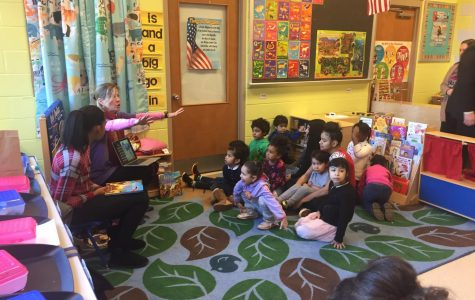 The kids from child development engage with author Kat Kronenburg