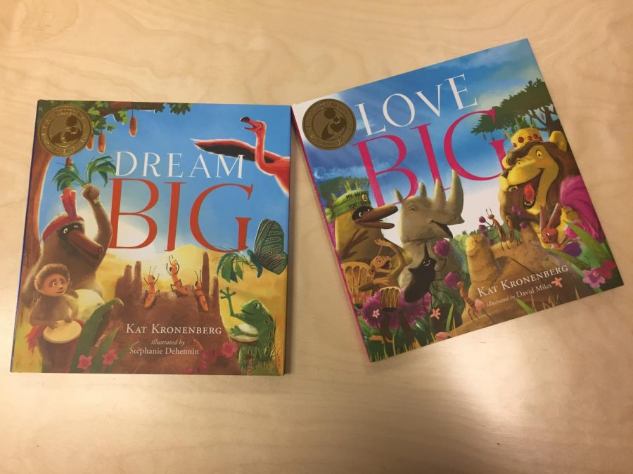 The+two+books+published+by+author+Kat+Kronenberg+who+visited+Watkins+Mill+High+School+child+development+program