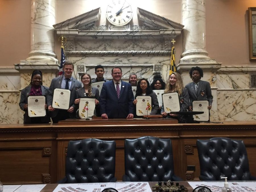 Senior+Khava+Tsarni+%28second+from+right%29+receives+a+proclamation+along+with+other+pages+from+Maryland+General+Assembly+House+minority+leader+Nicholaus+Kipke+