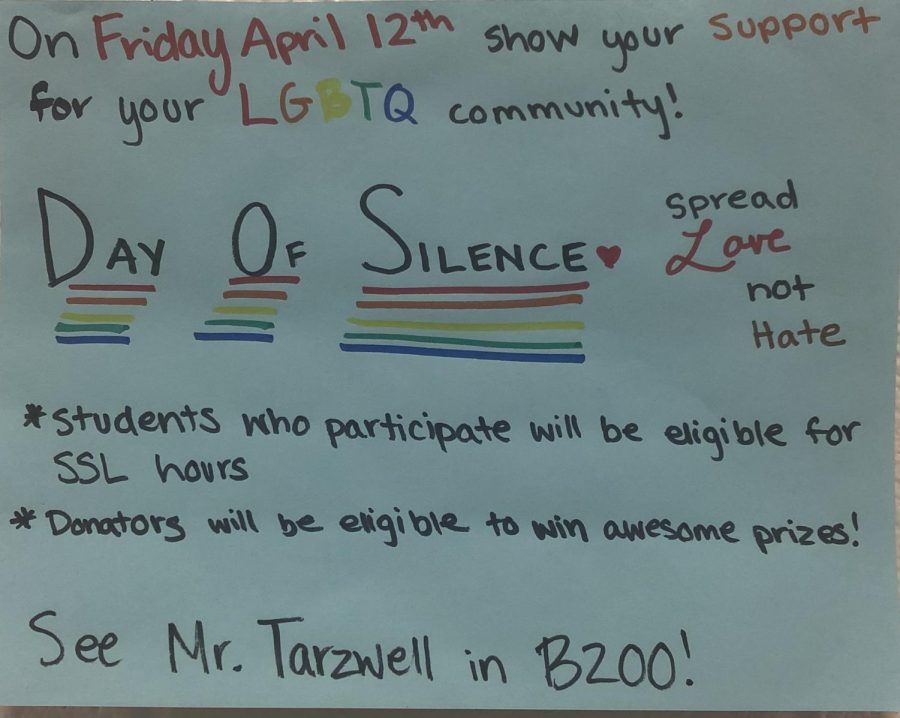 Watkins Mill High School students are participating in the Day of Silence to support the LGBTQ club.