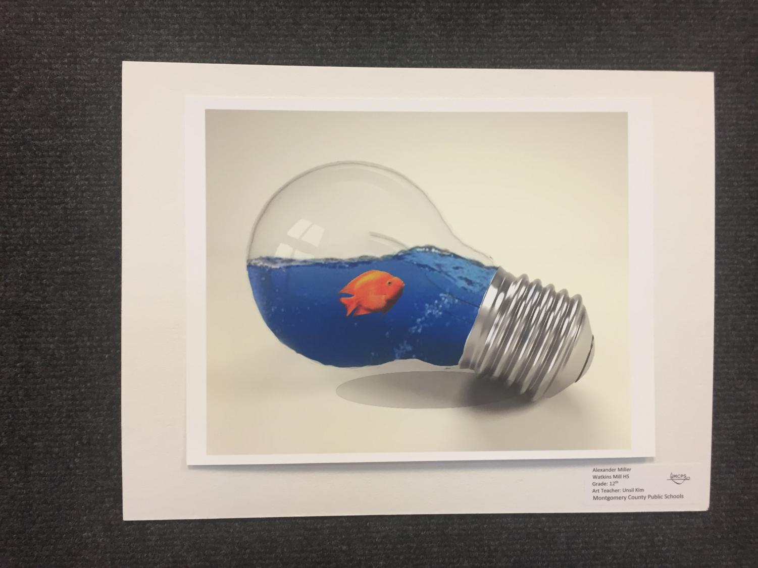 Photoshop+Artwork+by+Senior+Alexander+Miller+of+a+fish+in+a+lightbulb+in+the+Watkins+Mill+High+School+Art+Show+2019