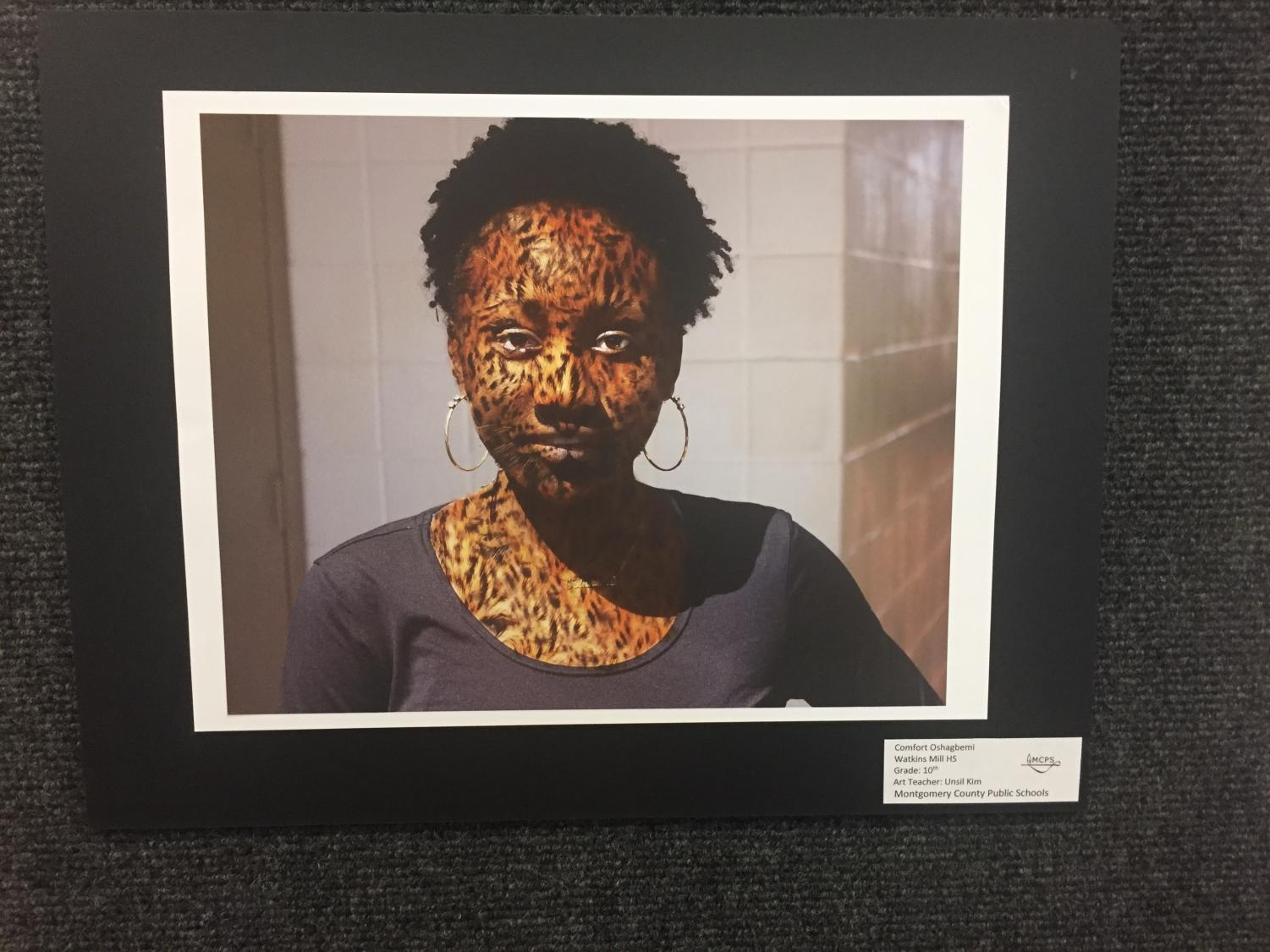 Photoshop+Artwork+by+Sophomore+Comfort+Oshagbemi+of+herself+mixed+with+animal+print+in+the+Watkins+Mill+High+School+Art+Show+2019