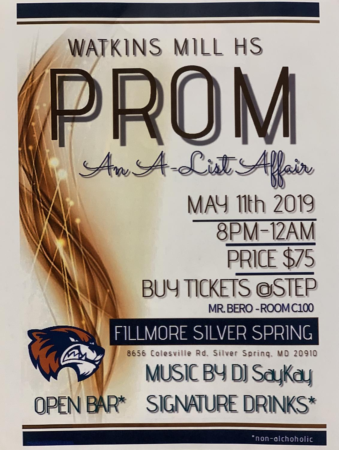Watkins Mill's annual prom will take place Saturday night at the Silver Spring Fillmore with the theme,