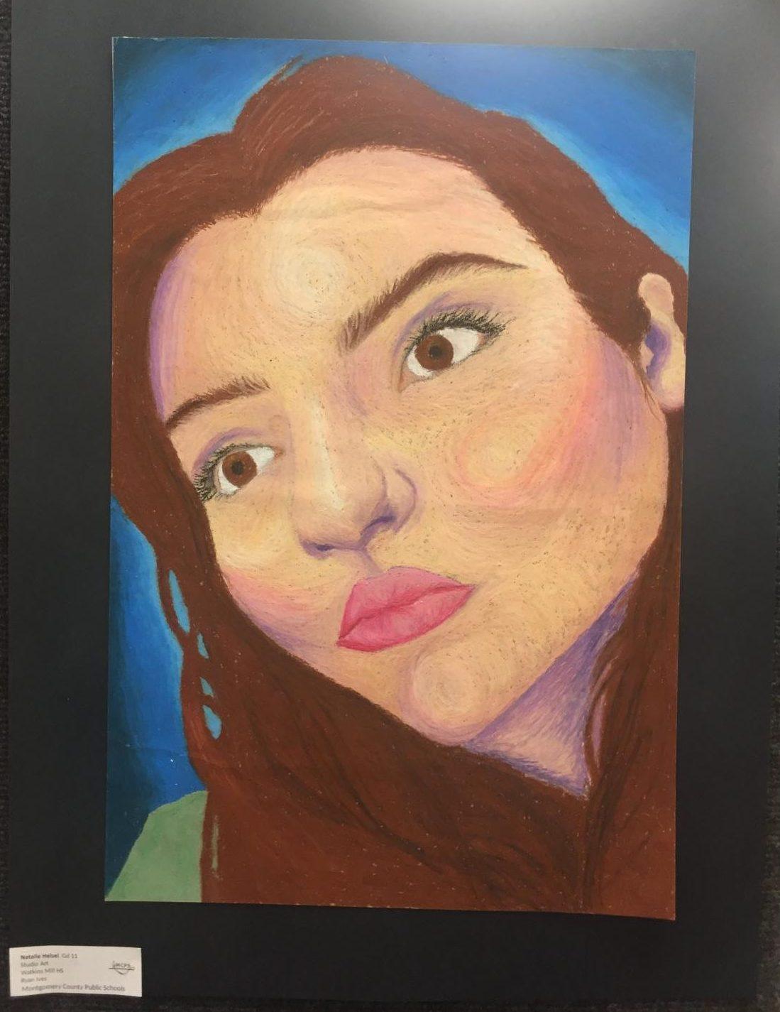 Self+portrait+artwork+by+Junior+Natalie+Helsel+of+herself+in+the+Watkins+Mill+High+School+Art+Show+2019