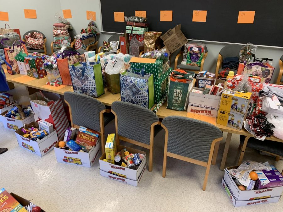A small part of the gifts contributed by the WMHS community to be distributed by Rogers to families in need for Christmas.